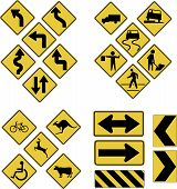stock photo of road sign  - Vector warning road signs - JPG
