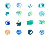 Alternative medicine and wellness, yoga concept - vector watercolor icons poster