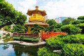 Hongkong Temple Pavilion Of Absolute Perfection In The Nan Lian Garden With River poster