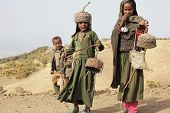 SIMIEN MTNS, ETHIOPIA - JANUARY 12: Ethiopean children are selling crafts in Simien mountains, on Ja