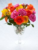 stock photo of vase flowers  - bouquet  of multi - JPG