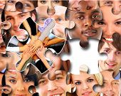 stock photo of brain-teaser  - Group of business people in pieces of a puzzle - JPG