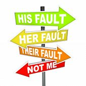 image of honesty  - Several colorful arrow street signs with words Not Me  - JPG