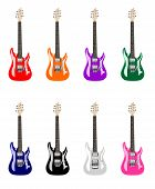 stock photo of stratocaster  - The vector illustration of electric guitars in different collors - JPG