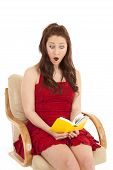Woman Red Dress Book Sit Shocked