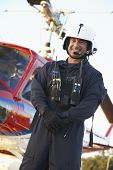 picture of medevac  - Portrait of paramedic standing in front of Medevac - JPG