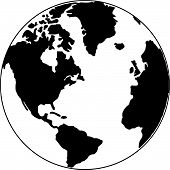 stock photo of world-globe  - Vector map of the world on the globe