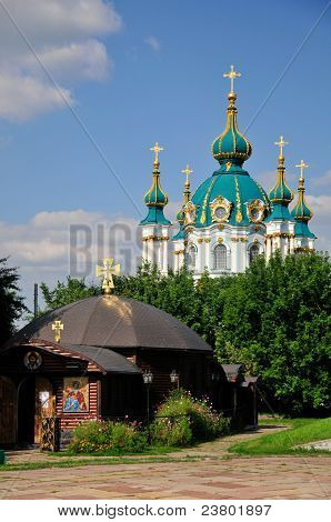 The Kiev Church of the Nativity of the Virgin and St. Andrew's Cathedral in Kiev. Ukraine.