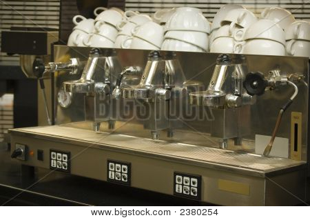 Real Coffee Machine And Clean Cups In A Cafe