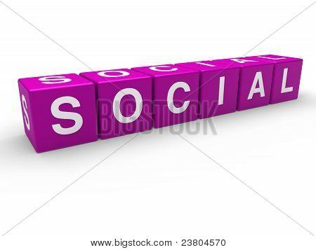 3D Purple Social Cube