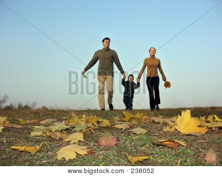 Walking Family Sundown Autumn Leaves