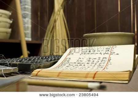 Ábaco e livro sobre a mesa em uma loja chinesa antiga