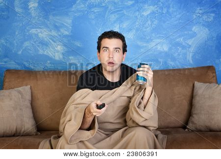 Man Watches Television