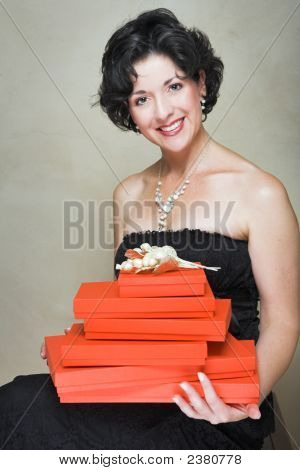 Woman With Red Boxes