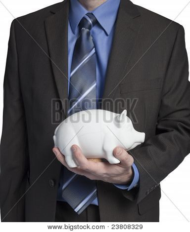 Business Man With Piggy Bank