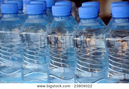 Closeup Mineral Water Bottles