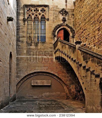 A gothic courtyard in Monastery of Santa Maria de Poblet, Spain