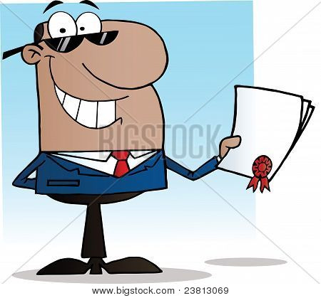 African American Businessman Showing Contract