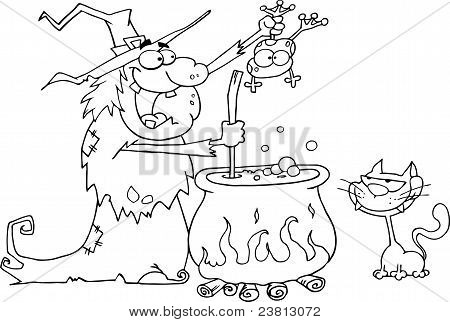 Outlined Cat Watching An Ugly Halloween Witch Holding A Frog Over A Cauldron