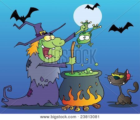 Cat Watching A Green Halloween Witch Holding A Frog Over A Cauldron