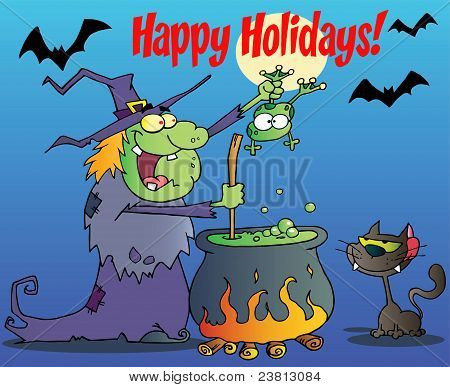Happy Holidays Greeting Over A Green Halloween Witch Making A Potion