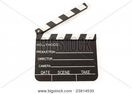 Aberto de filme de ardósia (placa de badalo) sobre fundo branco; espaço vazio para inscrições