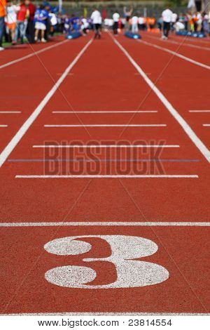 Running Track 3; perspective; special red cover for racing; people are far away