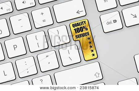 Quality 100% Service - 5 Stars - Gold Button - White Keyboard