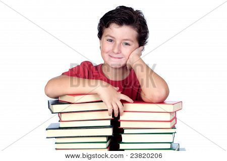 Student Child With Many Books