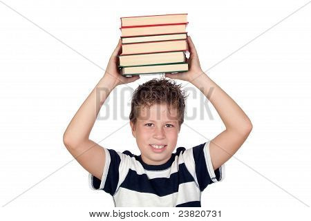Student Child With Many Books On His Head