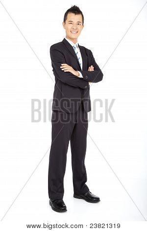 asian Businessman full length isolated on white
