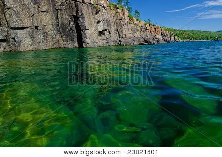 Cliffs And Submerged Boulders