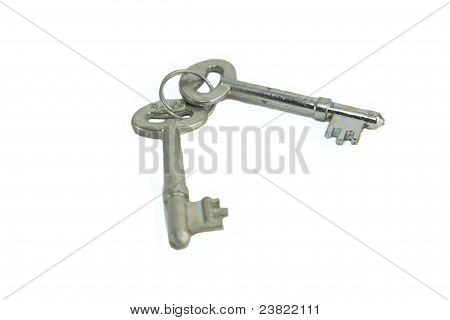 Bunch of 2 keys with metal ring