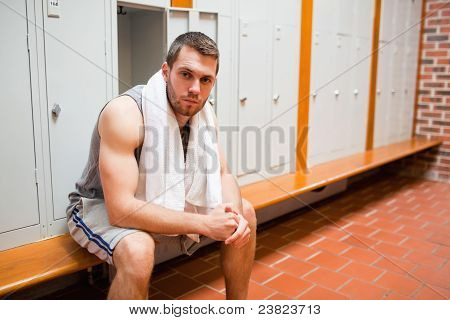Handsome Young Sports Student Sitting On A Bench