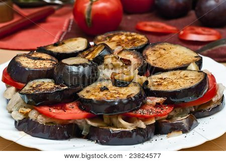 Eggplant, Mushrooms, Tomatoes