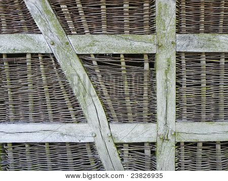 A wickerwork wall at a barn in North Germany