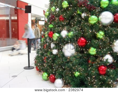 Shopping Mall People And Huge Christmas Tree