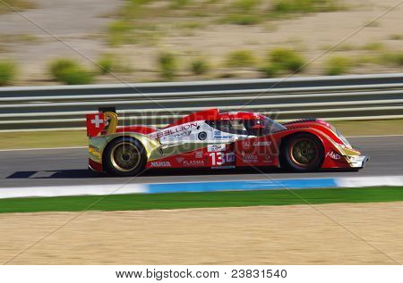 "ESTORIL - SEPTEMBER 25: The Toyota Lola B10/60 of the Swiss team Rebellion Racing piloted by Andrea Belicchiin the LMS race ""6 Hours Of Estoril"" on September 25, 2011, Estoril circuit, Portugal"