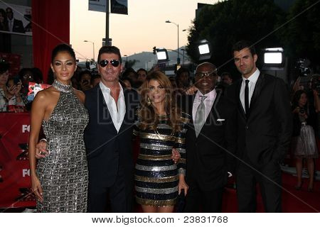 LOS ANGELES, CA - SEPTEMBER 14: Nicole Scherzinger; Simon Cowell; Paula Abdul; L.A.Reid; Steve Jones at the premiere of 'The X Factor' on September 14, 2011 in Los Angeles, California