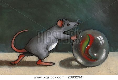 Painting of Mouse Pushing A Marble