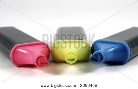 Three Coloured Markers Isolated