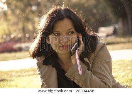 Portrait Pretty Woman She Dials The Phone