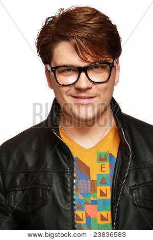 Casual average jo man in leather jacket and glasses isolated