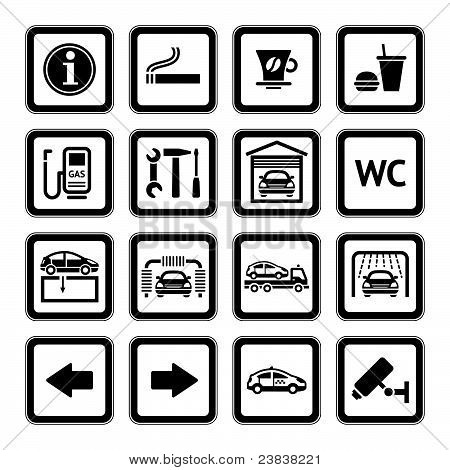Set Pictograms. Car Services. Gas Station. Black