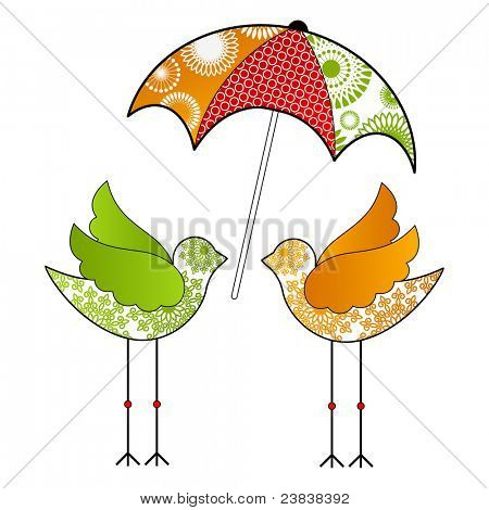 Funky birds with umbrella