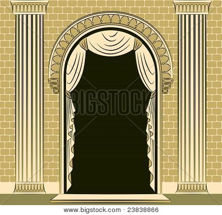 The ancient arches with curtains and columns of the architectural elements of the vector