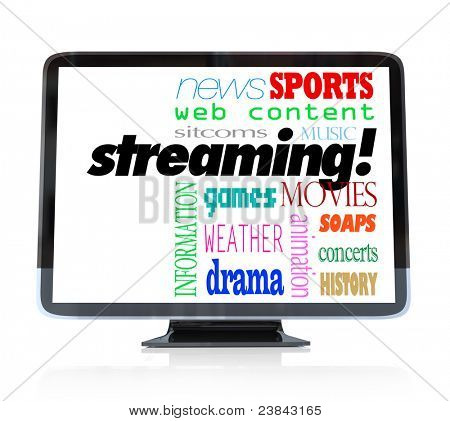 A high definition television with the word Streaming and words for types of content you can watch such as movies, sitcoms, dramas, sports, weather, news, information, concerts, music,  and more