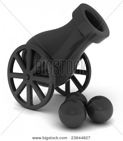 3D Illustration of a Canon and Canon Balls