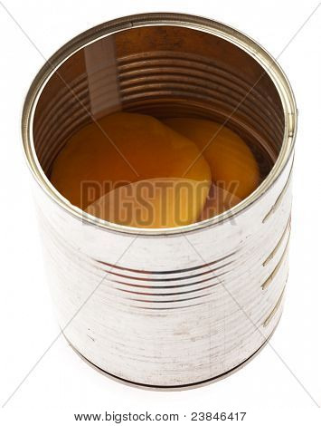 peach syrup in the tin can on white background