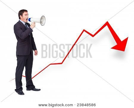 Unsuccessful businessman using a megaphone with a curve going down